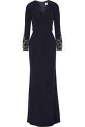 Badgley Mischka Embellished Wrap Effect Jersey Gown Blue