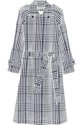 Temperley London Checked Linen And Cotton Blend Trench Coat