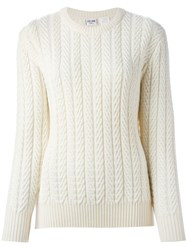 Celine Vintage Cable Knit Sweater Nude And Neutrals