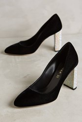 Anthropologie Deimille Kelly Rhinestone Heel Pumps Black