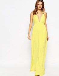 Forever Unique Cindie Plunge Neck Maxi Dress Lemon
