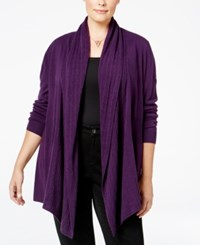 Karen Scott Cable Knit Pocket Cardigan Only At Macy's Purple Dynasty
