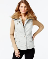 Inc International Concepts Petite Convertible Faux Fur Vest Only At Macy's Washed White