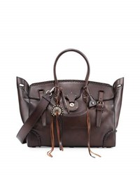 Ralph Lauren Soft Ricky 40 Satchel Bag With Whipstitching Brown