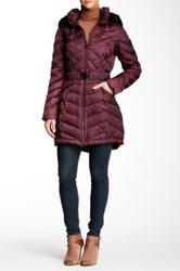 Laundry By Shelli Segal Belted Faux Fur Hooded Puffer Jacket Purple