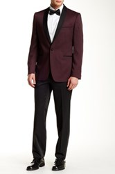 Ron Tomson Shawl Lapel Patterned Tuxedo Red