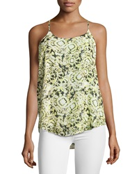 Romeo And Juliet Couture Printed Chiffon Racerback Tank Yellow