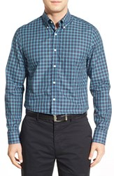 Men's Bobby Jones 'Ace' Regular Fit Long Sleeve Plaid Sport Shirt Summer Navy