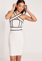 Missguided Premium Bandage Cross Strap Midi Dress White White