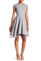 Abs By Allen Schwartz Cutout Piped Fit And Flare Dress Gray