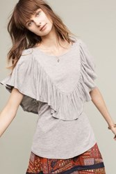 Anthropologie Ruffled Delon Top Grey