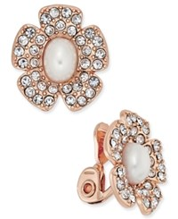Charter Club Rose Gold Tone Imitation Pearl And Crystal Flower Stud Clip On Earrings Only At Macy's Rose Gold Tone