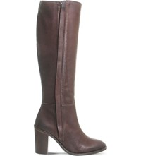 Office Kaiser Knee High Leather Boots Brown Leather