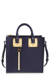 Sophie Hulme Square Leather Tote Blue French Navy