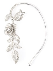 Elise Dray White Gold Diamond Flower Ear Cuff Metallic