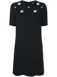 Versus Plaque Applique Shift Dress Black