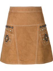 Coach Leather A Line Skirt Brown