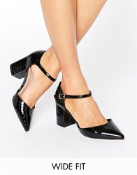 Asos Soraya Wide Fit Pointed Heels Black Croc