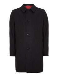 Bugatti Button Through Wool Blend Overcoat Charcoal
