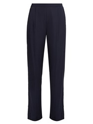 Vince Wide Leg Stretch Satin Trousers Navy