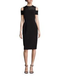 Lafayette 148 New York Sheer Yoke Cold Shoulder Dress