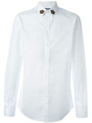 Dolce And Gabbana Embroidered Crown Collar Shirt White