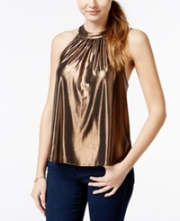 One Clothing Metallic Halter Top
