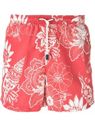 Etro Floral Print Swim Shorts Red