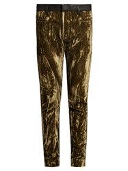 Haider Ackermann Madame Velvet And Leather Trousers Khaki