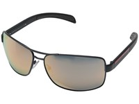 Prada Linea Rossa 0Ps 54Is Grey Demishiny Grey Mirror Rose Gold Metal Frame Fashion Sunglasses Gray