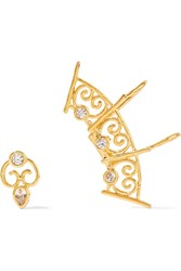 Noir Decor Gold Plated Cubic Zirconia Ear Cuff And Stud Earring Metallic