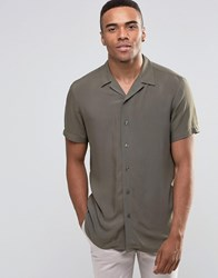 New Look Shirt With Revere Collar In Khaki In Regular Fit Khaki Green
