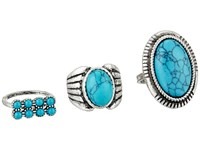 Steve Madden Round And Oval Turquoise Stone Three Piece Ring Set Silver Ring
