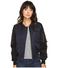 Members Only Diamond Quilted Bomber Jacket Authentic Navy Women's Coat