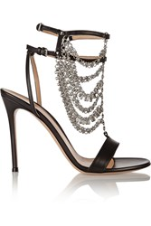 Gianvito Rossi Chain Embellished Leather Sandals Black