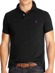 Polo Ralph Lauren Custom Fit Basic Mesh Knit Polo Black