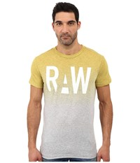 G Star Wendor Short Sleeve Tee In Dipped Ny Jersey Grey Heather Yellow Men's T Shirt Gray