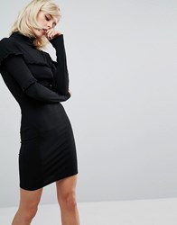 Fashion Union Bodycon Mini Dress With Frill Details Black
