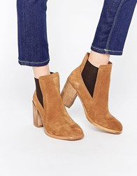 Asos Esme Leather Wide Fit Chelsea High Ankle Boots Brown