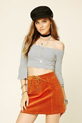 Forever 21 Lace Up Corduroy Mini Skirt