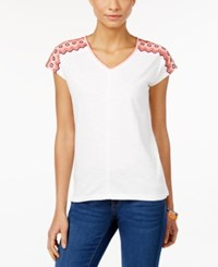 Styleandco. Style And Co. V Neck Short Sleeve Top Only At Macy's Chevron Embroidered White