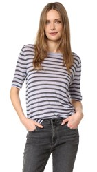 Alexander Wang Stripe Cropped Tee Lavender And Charcoal