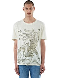 Gucci Bird Print Linen T Shirt Cream