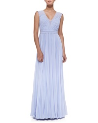 Rebecca Taylor Sleeveless Pleated V Neck Gown Icy Blue