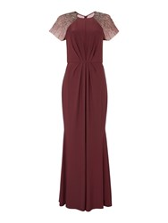 Biba Beaded Shoulder Maxi Event Dress Mulberry