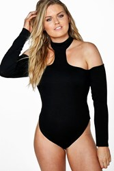 Boohoo Frankie Open Shoulder Bodysuit Black