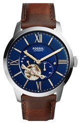 Men's Fossil 'Townsman' Automatic Leather Strap Watch 44Mm