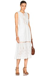 Sea Floral Eyelet Maxi Dress In White
