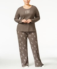 Hue Plus Size Thermal Pajama Set With Socks Graphite Moons