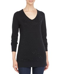 Neiman Marcus V Neck Crystal Front Sweater Women's